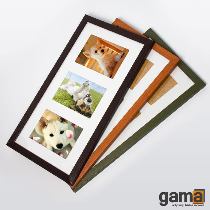 ramka na 3 zdjęcia drewniana